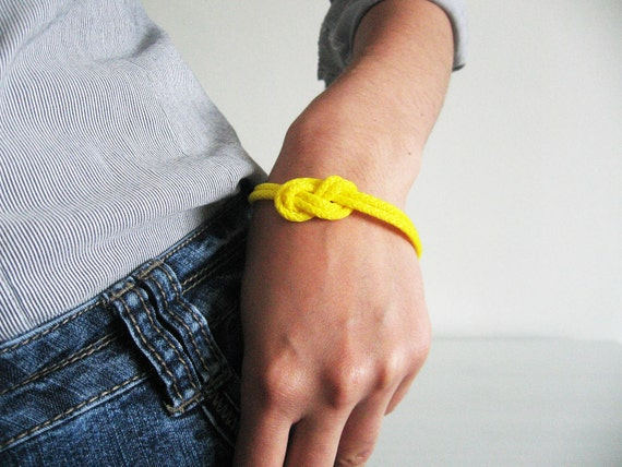 Neon rope bracelet- neon yellow nautical cord sailor's knot bracelet with golden end caps