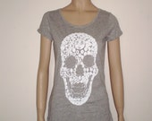 White skull grey swarovski diamonds tshirt for women, grey tee