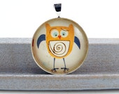 Concerned Little Orange and Blue Owl Round Glass Pendant