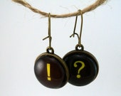 Question Mark and Exclamation Point Charms on anitique gold Earrings