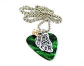 Necklace Guitar Pick Fender Green Marble and Sterling Silver Butterfly Charm with Gold Swavorski Crystal