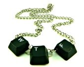 Unisex Necklace Recycled Computer Keyboard WTF