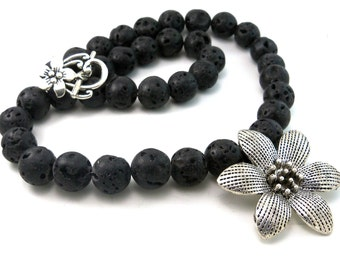 Necklace Black Lava Beads, 52mm Silver Flower Pendant, Silver Flower Toggle