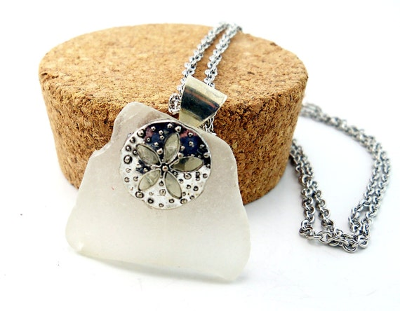 White Beach Glass Necklace, Sand Dollar, Silver