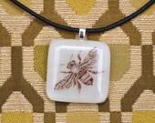 "Mason Bee Glass Pendant on black leather 16"" necklace."