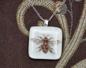 "Bumble Bee Glass Pendant on sterling silver 18"" necklace."