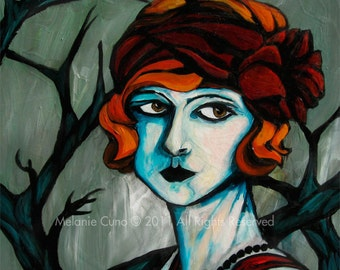 1920s moody flapper woman- giclee print of original painting