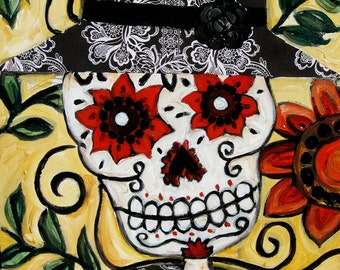 Skeleton in hat- day of the dead giclee print of original mixed media painting