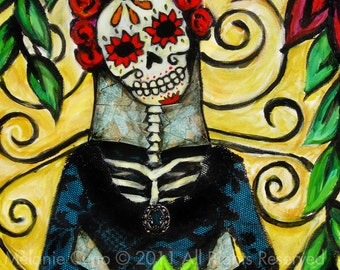 """11""""x14"""" La Catrina- Day of the Dead giclee print of original mixed media painting"""