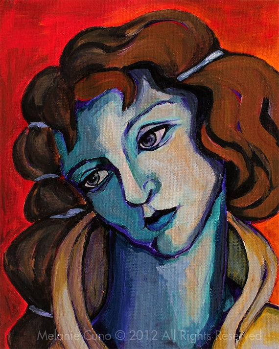 Renaissance woman's portrait - inspired by Botticelli - giclee print 8x10