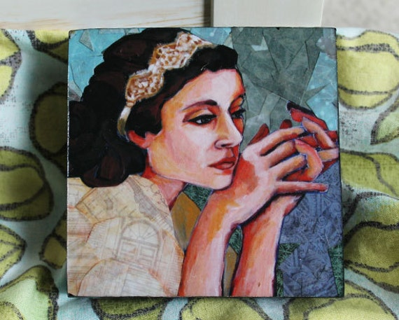 Mixed media portrait 4x4 print mounted on wood with hand painted sides
