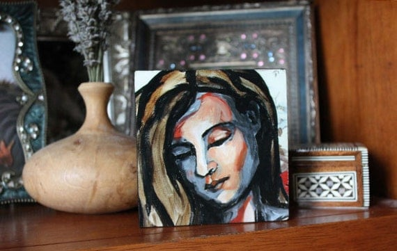 Painted woman 4x4 mounted on wood with hand painted sides