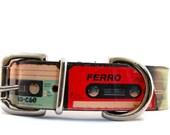 Leather dog collar / 1 inch / CASSETTE / handmade dog collar / cool dogs