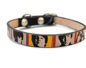 Leather dog collar / 1/2 inch - BEATLES POP ART