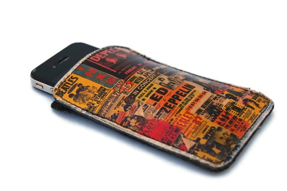 Mens iPhone case / Leather sleeve VINTAGE GIG POSTERS