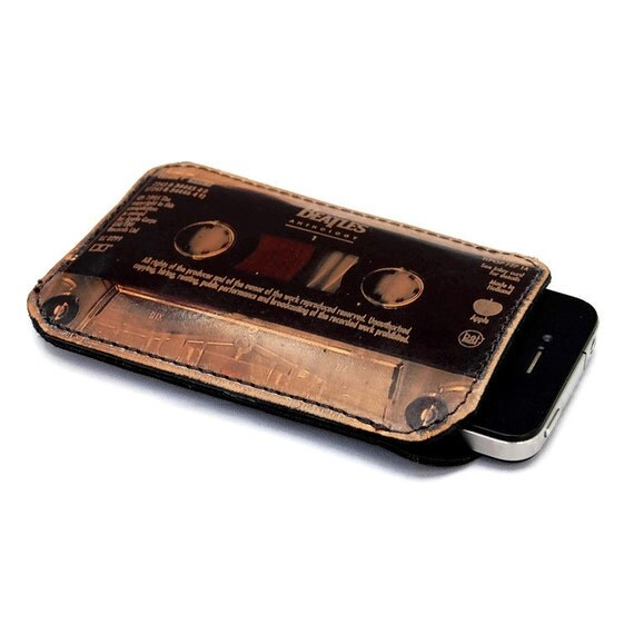 iPhone case for men / leather iphone 4 sleeve Beatles cassette tape / Gift for men