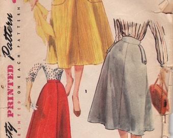 1950s Vintage Skirt Pattern Simplicity 4850 Waist 24