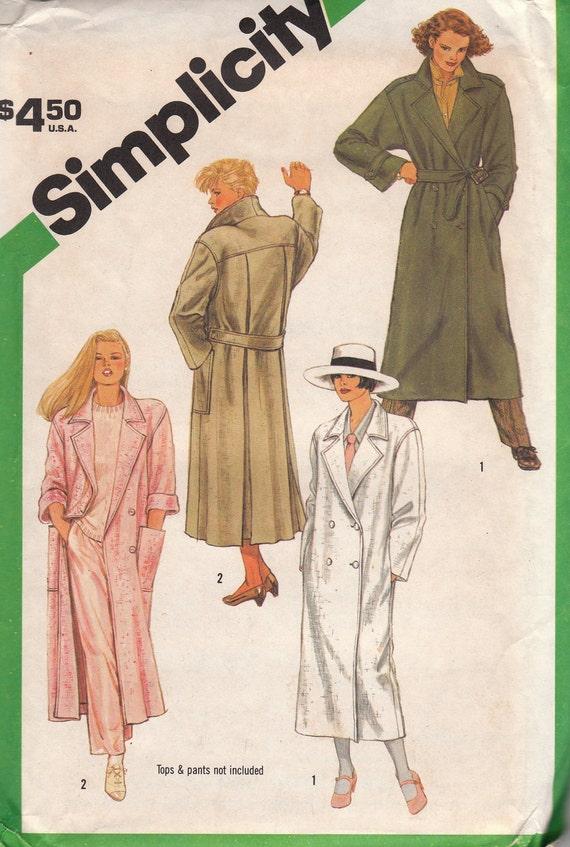 Full Length Coat Pattern Simplicity 6524 Size 10 Uncut