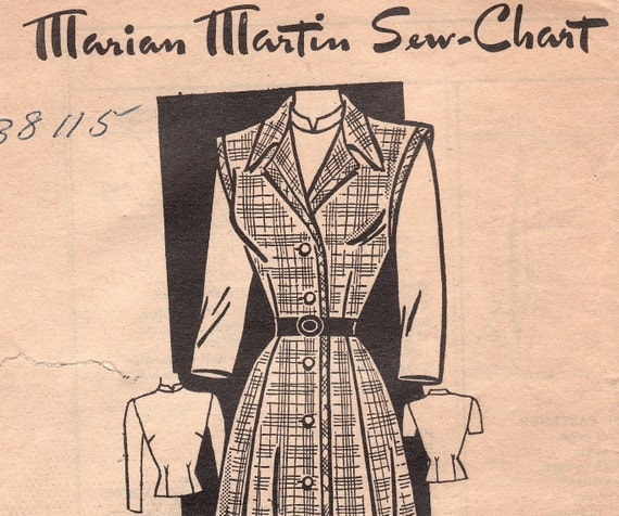 1940s Vintage Dress Pattern Marian Martin T 9288 Size 20