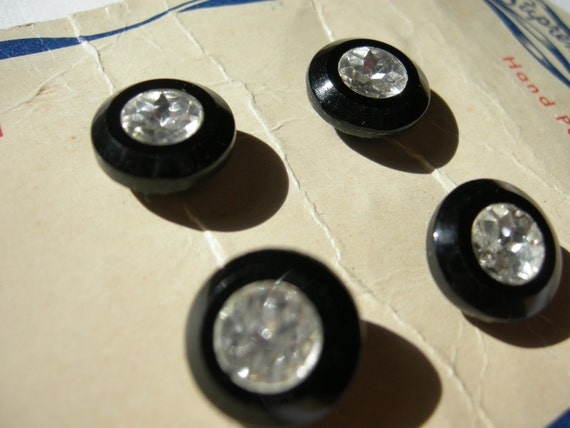 4 Black Vintage Buttons on Original Card