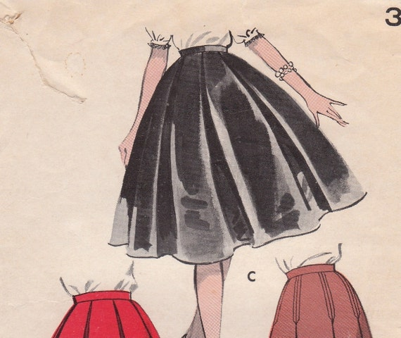 1950s vintage flared pleated skirt pattern butterick 8793
