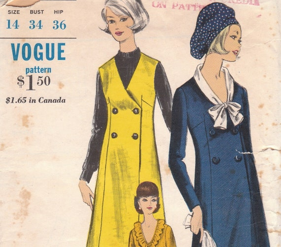 60s Double Breasted Dress or Jumper Pattern Vogue 6336 Size 14