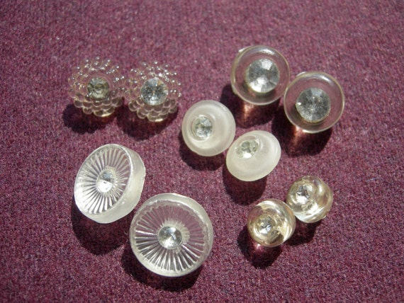 10 Sparkly Vintage Buttons - 5 Pairs