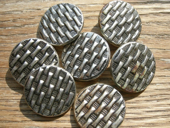 7 Matching Vintage Metal Buttons with A Basket Weave Pattern