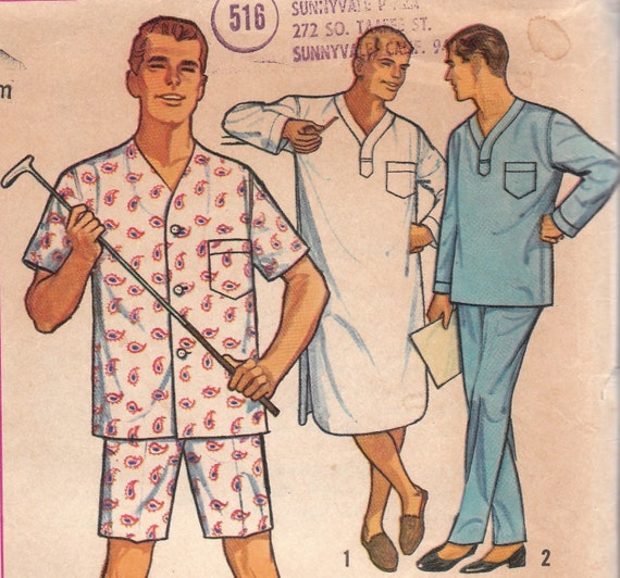 1950s Mens Pajamas & Nightshirt Pattern Simplicity 5039 Medium