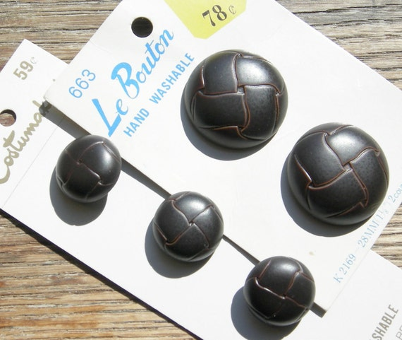 5 Brown Faux Leather Vintage Buttons on Cards - 2 Sizes