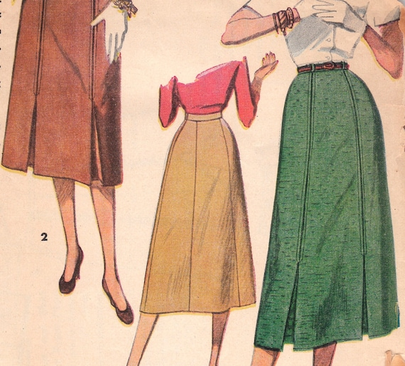 1950s skirt pattern with inverted kick pleats simplicity 4414