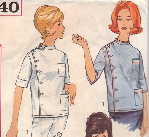 1950s Intern Blouse Pattern Simplicity 4640 Size Small 10 12 Uncut