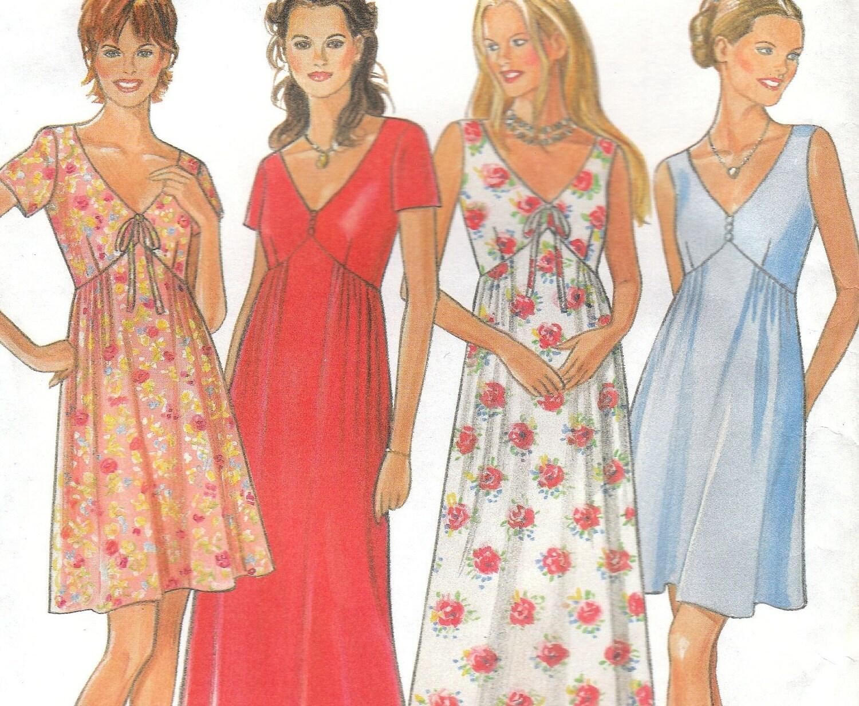 Empire Waist Summer Dress Pattern New Look Size 8 18 Uncut