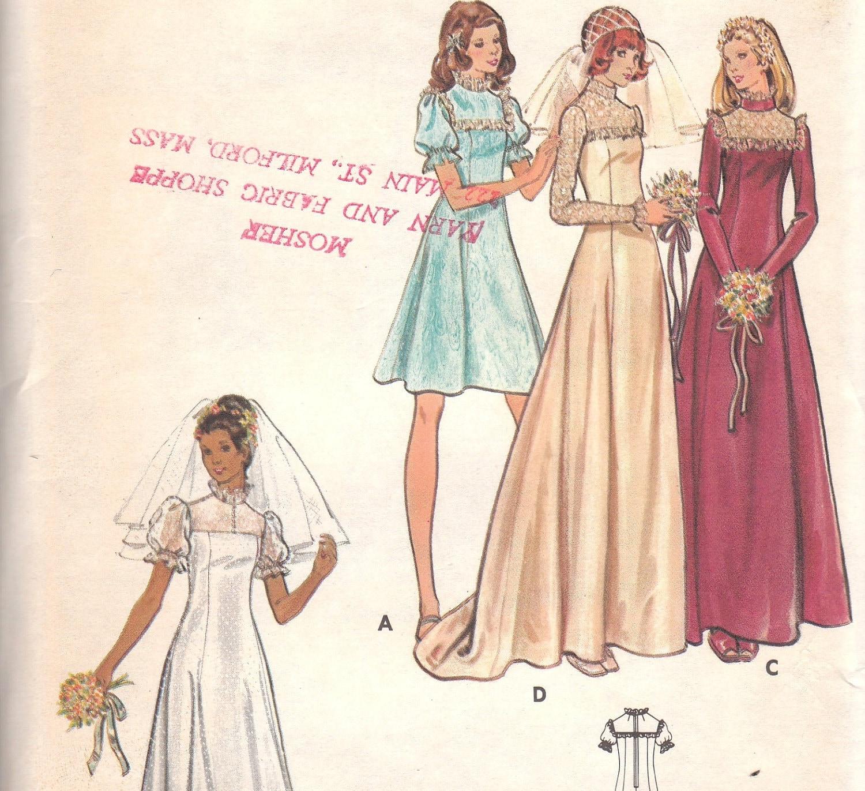 Vintage Wedding Dress Pattern 1970s Butterick By