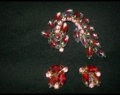 GARNE 1950's era Pink rhinestone earrings & Brooch GARNE