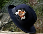 Navy Blue Felt Hippie Hat with Feather // Women's Vintage Wide Brim Fedora