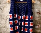 Vintage Hippie Vest // Hand Crochet Granny Vest // Blue Red & White