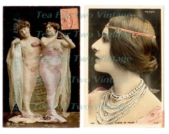 Sirens French Postcards set of two digital download Stunning