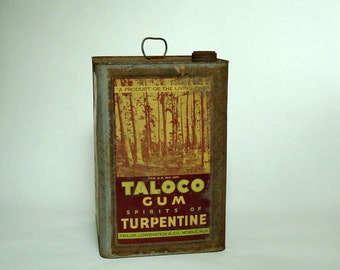 Vintage Large Square Tin Can - 1920's