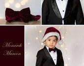 Toddler boys maroon velvet bow tie with diamantes