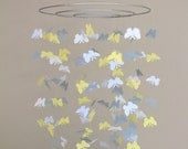Butterfly baby mobile -White Grey and light Yellow colors