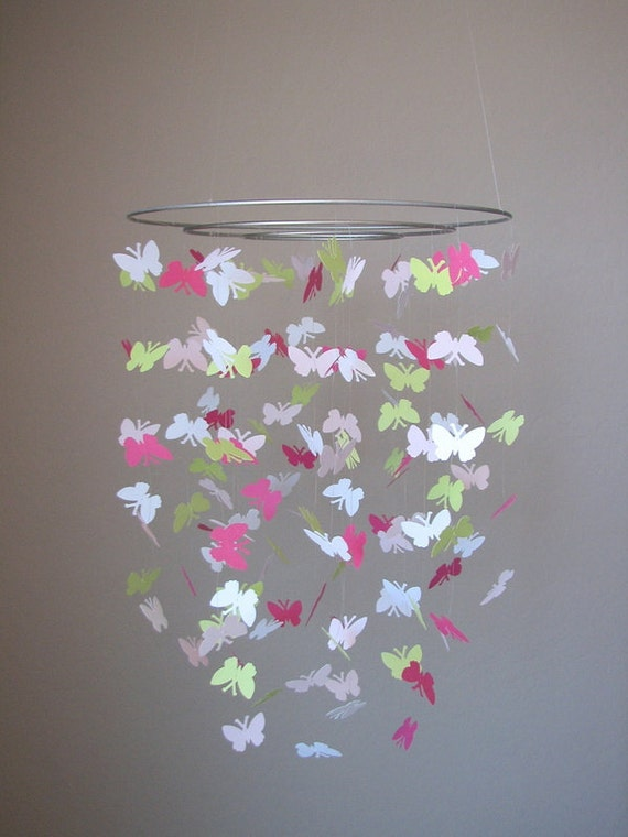 Butterfly Baby Mobile - Pink, light pink, light green and white