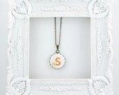Personalized Embroidered Initial Jewelry - Pendant Letter / Colour Of Your Choice