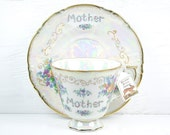 Mother - Vintage Teacup Herb Garden Planter Kit - Pearly White & Floral With Gold Accents