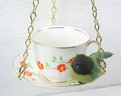 Reserved For Aubrey -  Hanging Bird Feeder - Vintage Teacup - Orange Flowers
