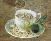 RESERVED FOR ERIN - Hanging Bird Feeder Kit - Vintage Teacup - Yellow Partridge Pea Flowers