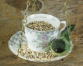 Hanging Bird Feeder Kit - Vintage Teacup - Pink Flowers And Grey Lace