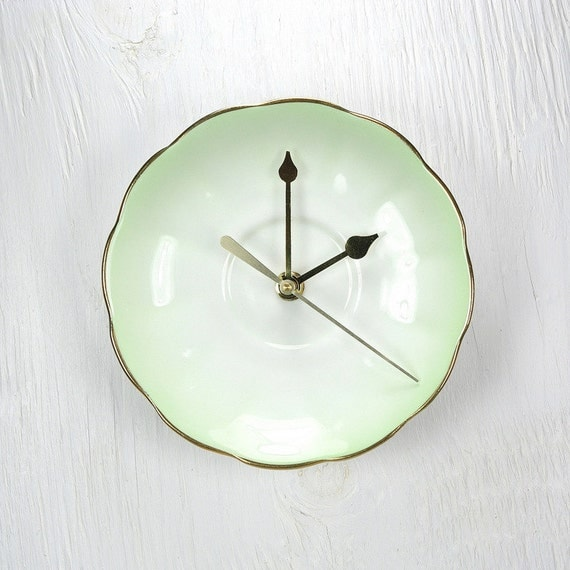 Reserved For Sarah - Mint Green Wall Clock. Vintage Fine Bone China Saucer / Plate.