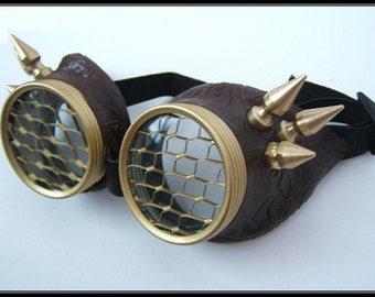 Halloween Steampunk Goggles Airpirate glasses - Brass Spikes Honeycomb lens city of bones