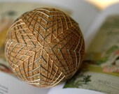 The Sun on Every Field - Japanese temari - modern traditional home decor ornament - ochre yellow sage green - crafting for a cause
